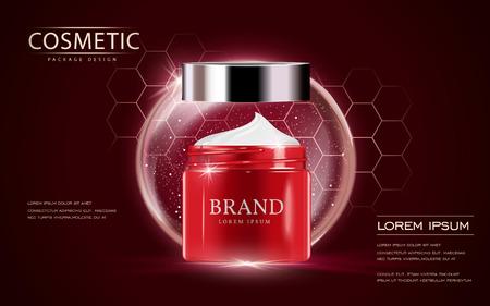 化粧品の広告テンプレート、クリーム コンテナー モックアップ ・緋色の背景に分離されました。3 D イラスト。バブルと六角形の要素。