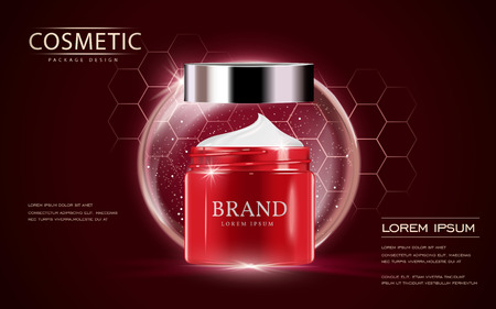 Cosmetic ads template, cream container mockup isolated on scarlet background. 3D illustration. bubble and hexagon elements. Vettoriali