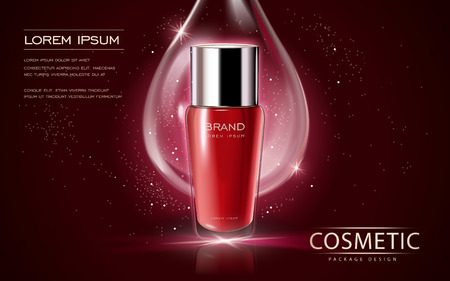 Cosmetic ads template, glass bottle mockup isolated on scarlet background. 3D illustration. essence drop elements on the background.