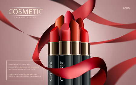 Makeup ads template, Charming red lipstick mockup with sparkling background. 3D illustration. Ribbon elements. Illustration