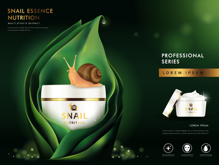 snail cream blank package model, 3d illustration for cosmetic ads or magazine
