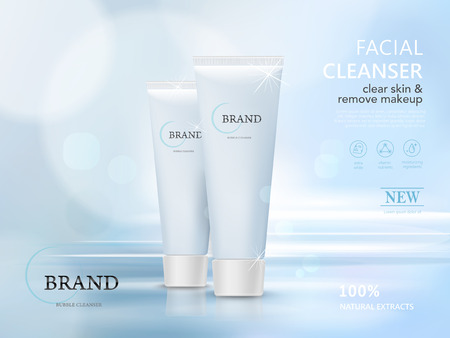 facial cleaner blank package model, 3d illustration for ads or magazine Vectores