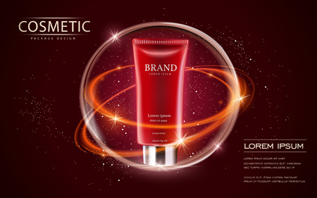 Cosmetic ads template, cream tube mockup isolated on scarlet background. 3D illustration. sparkling effect on the background. 向量圖像