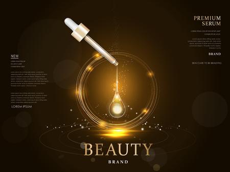 premium serum container leeg pakket model, 3d illustratie voor advertenties of tijdschrift Stock Illustratie