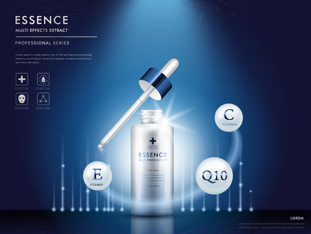 essence multi effect extract blank package model, 3d illustration for cosmetic ads or magazine