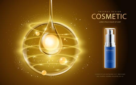 Cosmética plantilla de anuncios, botella de spray cosmético con la perla de la gota de aceite esencial. Ilustración 3D para la revista de moda o anuncios. Ilustración de vector