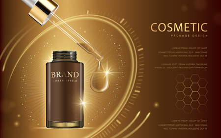 Cosmetic ads template, glass droplet bottle with essence oil drop isolated on brown background. 3D illustration. Abstract hexagon and clock elements.