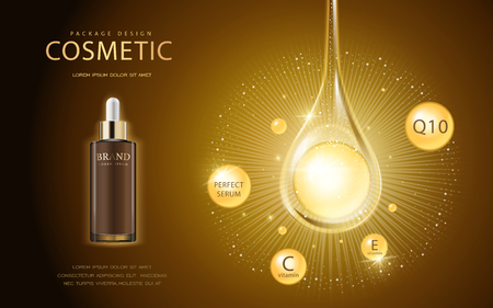 Cosmetic ads template, glass droplet bottle with essence oil drop isolated on brown background. 3D illustration. Q10, vitamin and other ingredients showing on the poster. Ilustrace