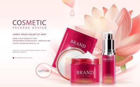 Lotus cosmetische advertenties template, 3D illustratie cosmetische mockup met lotus op de achtergrond