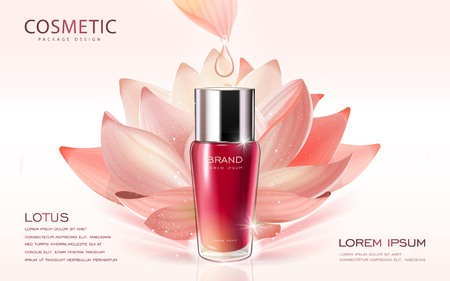 anti aging: Lotus cosmetic ads template, 3D illustration cosmetic mockup with lotus on the background