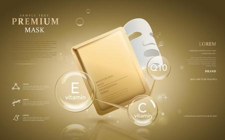 보습 마스크 광고, 투명 거품에 영양과 프리미엄 페이셜 마스크. 3D 그림. 일러스트