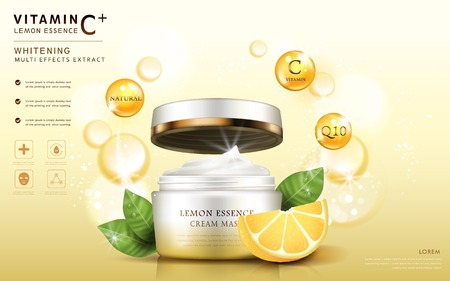 Lemon essence ads, cream mask bottle template with ingredients and sparkling elements around it, 3d illustration Ilustração