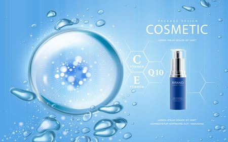 Moisturizing cosmetic ads template, 3D illustration cosmetic mockup with sparkling water drop over blue background