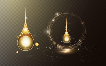 Premium collagen drop, sparkling golden oil drop with effects isolated on transparent background. 3D illustration.