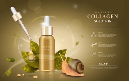 Snail extract cosmetic ads, droplet bottle with ingredients - snail and leaves. 3D illustration.