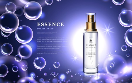 Cosmetic ads template, essence bottle with attractive bubbles and purple background, 3d illustration