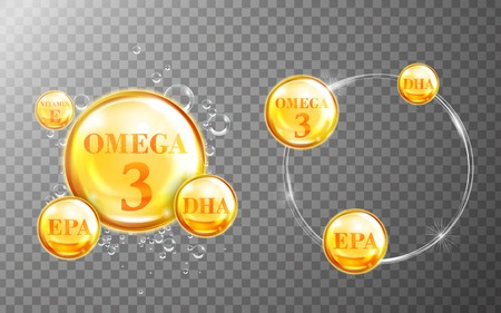 dietary: Shiny fish oil nutrition, omega 3, epa and dha for good health isolated on transparent background. 3D illustration.