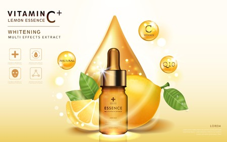 Limón anuncios esencia, plantilla botella de vidrio con ingredientes y elementos brillantes a su alrededor, ilustración 3d