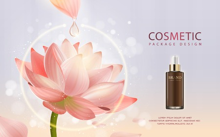 Essential oil poster design, 3D illustration realistic dropper bottle with ingredients lotus on the background Vectores