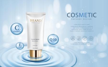 Feuchtigkeitsspendende kosmetische Anzeigen-Vorlage, 3D-Darstellung kosmetische Mockup auf Wasser und isoliert auf Bokeh Hintergrund
