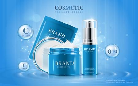 保湿化粧品の広告テンプレート、製品周辺の要素が付いている水に 3 D 図化粧品モックアップ  イラスト・ベクター素材