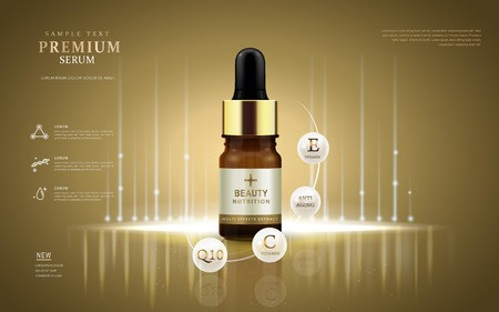 annunci siero Premium, bottiglia di gocce con gli ingredienti su la palla bianca perla. illustrazione 3D.