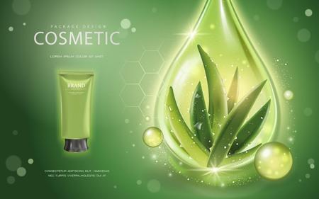 緑の背景にアロエベラ化粧品テンプレート、3 D イラストレーション成分アロエベラと輝くオイル化粧品モックアップをドロップします。