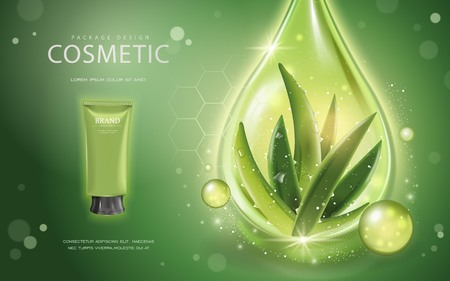 Aloe vera cosmetic template, 3D illustration cosmetic mockup with ingredients aloe vera and sparkling oil drop on the green background Ilustrace