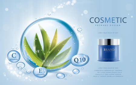 Aloe vera cosmetic template, 3D illustration cosmetic mockup with ingredients aloe vera in the water drop