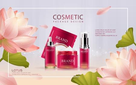 ロータス化粧品の広告テンプレート、背景に蓮の 3 D イラストレーション化粧品モックアップ  イラスト・ベクター素材