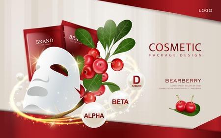 Bearberry cosmetische advertenties template, 3D illustratie gezichtsmasker mockup met ingrediënten op de achtergrond