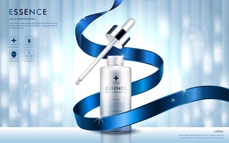 Kosmetik-Anzeigen-Vorlage, Essenz Flasche mit blauem Band und Glitzer-Elementen auf dem Hintergrund, 3D-Darstellung Vektorgrafik
