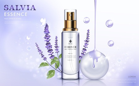Salvia cosmetic ads, essence bottle with purple salvia and oil dripping from top, 3d illustration Ilustrace