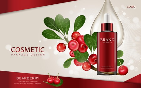 3 D イラスト背景に食材を化粧品のモックアップ、クマコケモモ化粧品の広告テンプレート