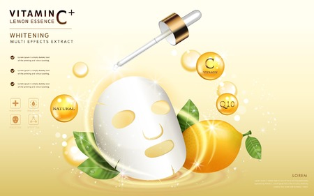 Lemon essence ads, facial mask template with ingredients and sparkling elements around it, 3d illustration Ilustração