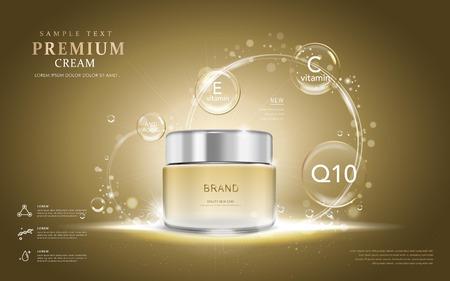 anuncios de crema de alta calidad, crema botella translúcida con los ingredientes en las burbujas. Ilustración 3D.