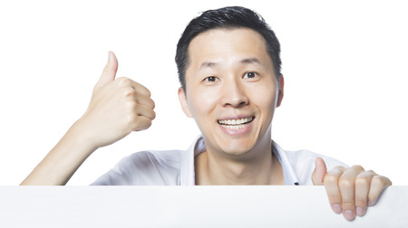 cheerful man making gesture of taking action, isolated white background,