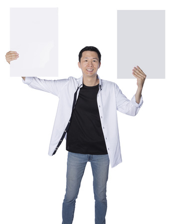 fash: man holding two boards, representing having two choices, isolated white background, real photo