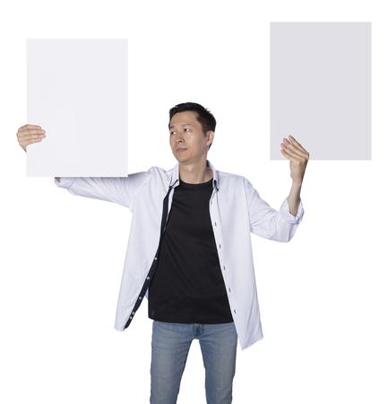 fash: man feeling hard to choose, real photo, isolated white background