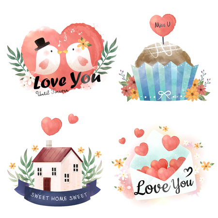 Watercolor elements collection, adorable bird, cake, home and love letter in hand drawn style, watercolor elements for cards, poster