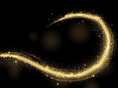 gold woman: Gorgeous sparkling effects, glittering sequins or dust in the air, 3d illustration