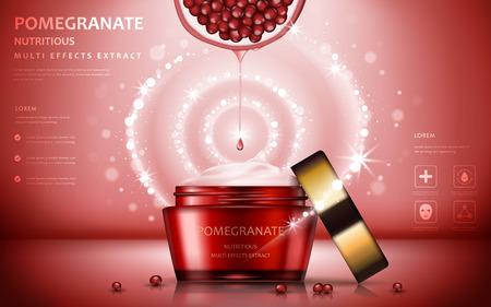 annunci crema melograno, attraente ingredienti di frutta con il pacchetto di cosmetici ed effetti scintillanti, illustrazione 3d Vettoriali