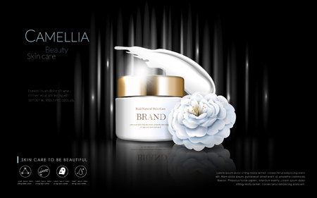 beauty products: Camellia cosmetic ads, elegant white camellia isolated on black background, 3d illustration Illustration