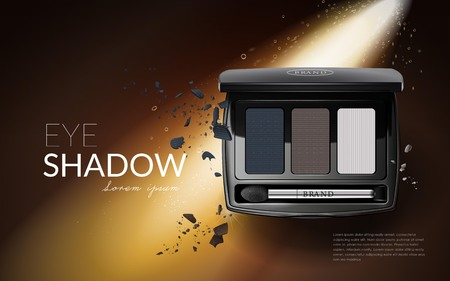 eyeshadow: Glamour eyeshadow ads, three colors for eyelid makeup, product with its powder texture in 3d illustration Illustration