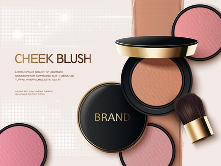 Cheek blush ads, 3d illustration blush compact with its colorful texture on the background