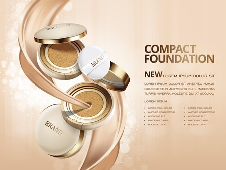 Elegant compact foundation advertenties, 3D-afbeelding foundation product met de textuur doorheen stroomt