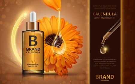 輝く液体と花キンセンカ皮膚トナー広告、3 d イラストの化粧品の広告デザインします。  イラスト・ベクター素材