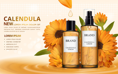 Calendula skin toner ads, 3d illustration cosmetic ads design with liquid dripping from petal Ilustração