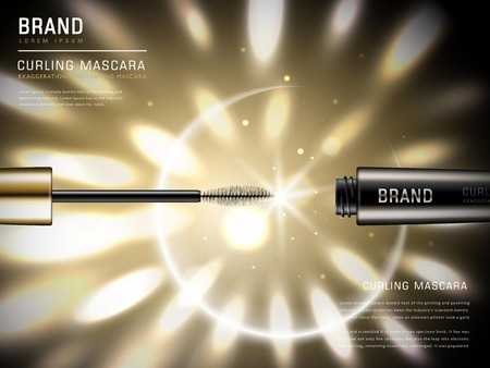 マスカラー広告をカーリング、3 d イラストレーション マスカラーのブラシと背景に鮮やかな黄金色のライトとそのコンテナー
