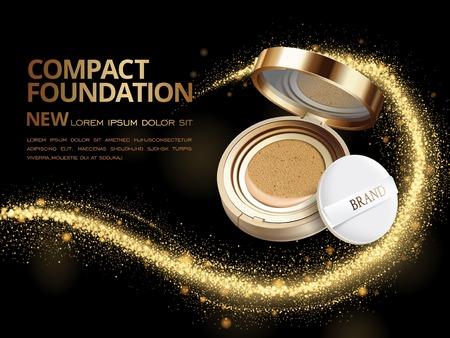 Aantrekkelijk compact foundation advertenties, 3D-afbeelding foundation product met glinsterende pailletten of stof in de lucht